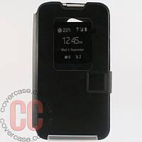Чехол-книжка с окошками для LG L70 D320 (черный)