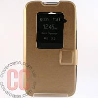 Чехол-книжка с окошками для LG L70 D320 (золотой)