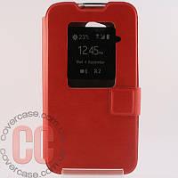 Чехол-книжка с окошками для LG L70 D320 (красный)