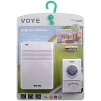 Звонок беспроводной на батарейках VOYE V005A: 50/60 Гц, радиус 100 м, питание 3хАА/12В, 38 мелодий