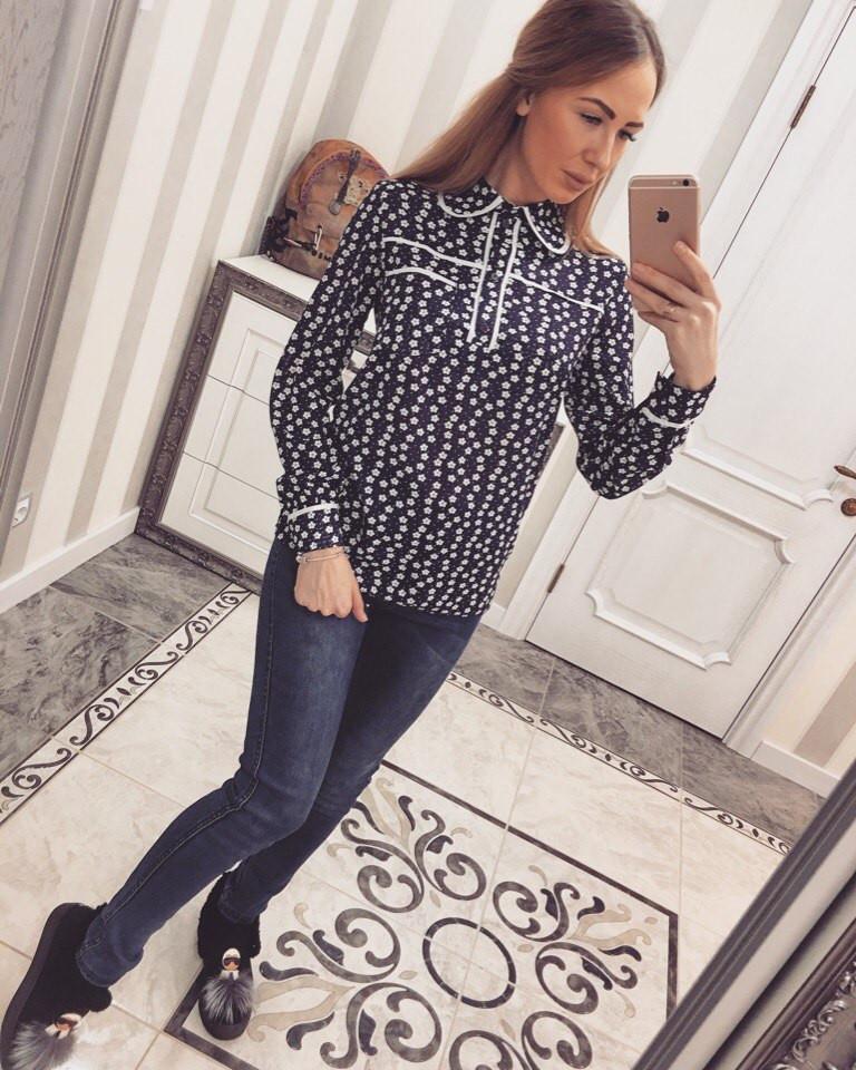 Весенняя женская рубашка креп-шифон