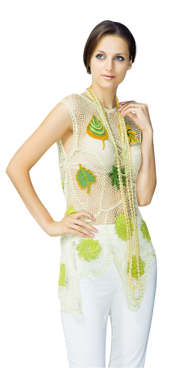 Блуза лимонно-зеленая  из соединенных сетчатых лоскутов