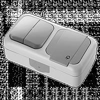 Выключатель двойной + розетка с заземлением с крышкой Tplast