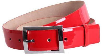 Яркий  качественный женский пояс под джинсы Dori red101 ДхШ: 120х4 см, красный