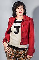 Пальто женское пиджак полупальто укороченное теплое красное  Apart