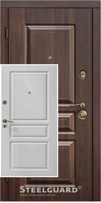 Двери входные Steelguard TermoScreen (Темный орех/белый мат)