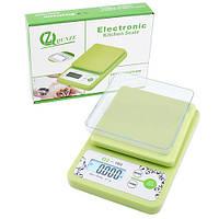 Кухонные электронные весы с чашей QZ-160: g/oz/lb/tl, подсветка экрана, сброс тары, 230х160х38 мм