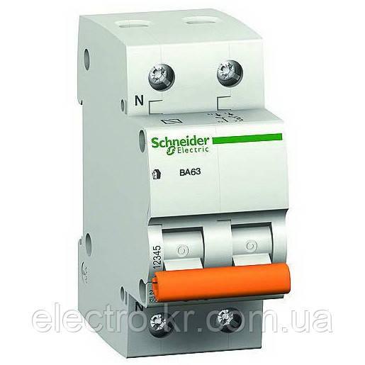 Автоматический выключатель Schneider Electric «Домовой» ВА63 2П+Н 25A C