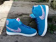 РАСПРОДАЖА!! Кроссовки, криперы высокие, кеды Nike синие, синего цвета.