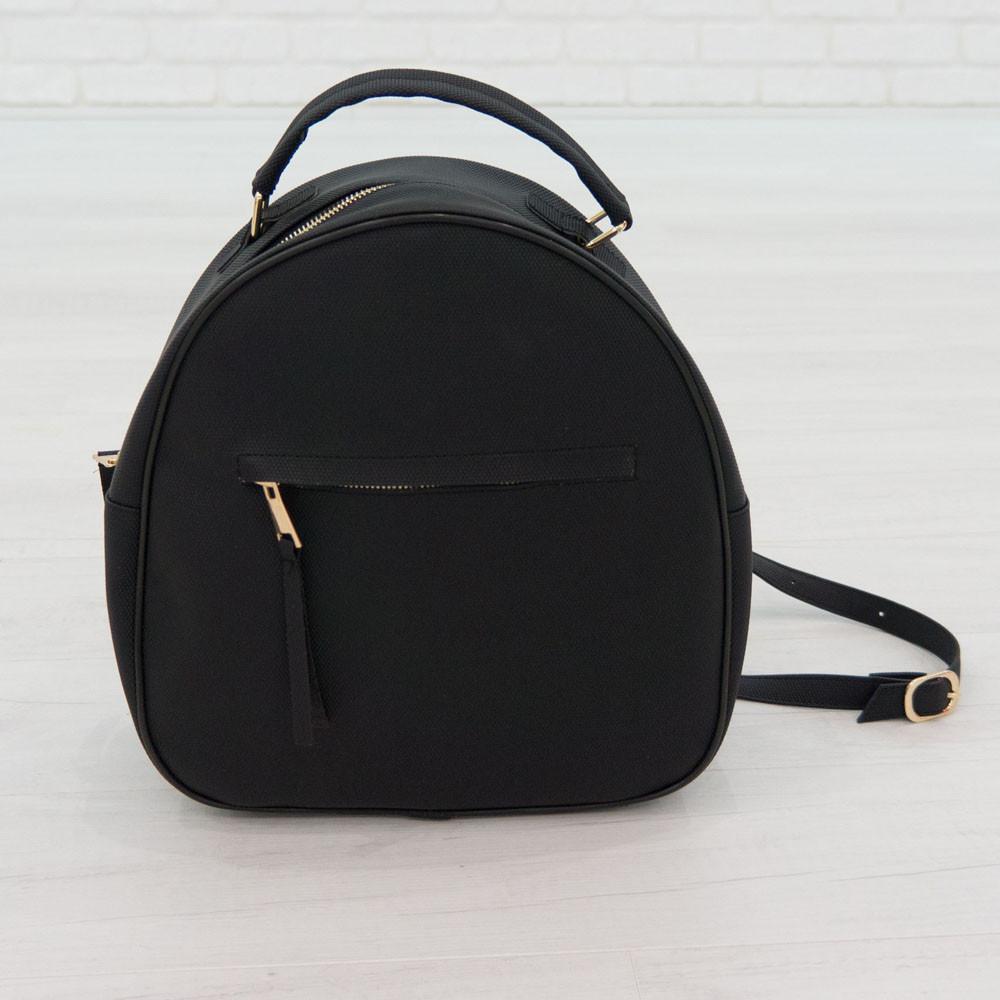 Рюкзак из искусственной кожи черный (К-319)