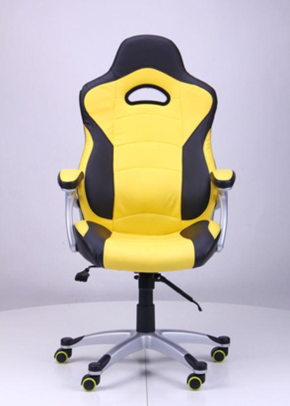 Кресло Форсаж №1 (1712) к/з PU черный/ желтые вставки (фото 2)