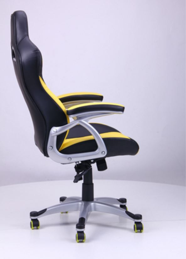 Кресло Форсаж №1 (1712) к/з PU черный/ желтые вставки (фото 3)