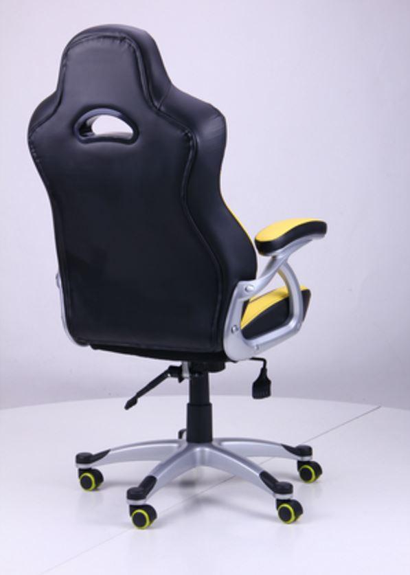 Кресло Форсаж №1 (1712) к/з PU черный/ желтые вставки (фото 4)