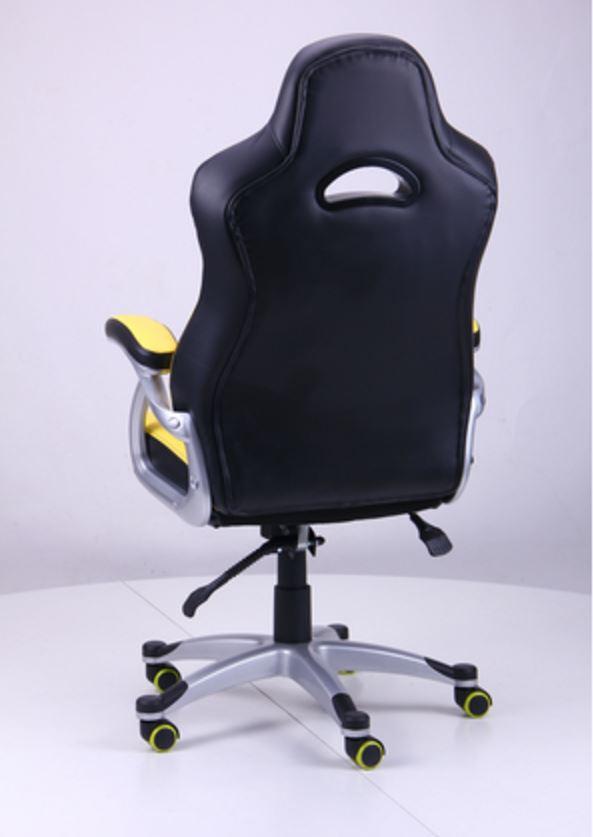 Кресло Форсаж №1 (1712) к/з PU черный/ желтые вставки (фото 5)