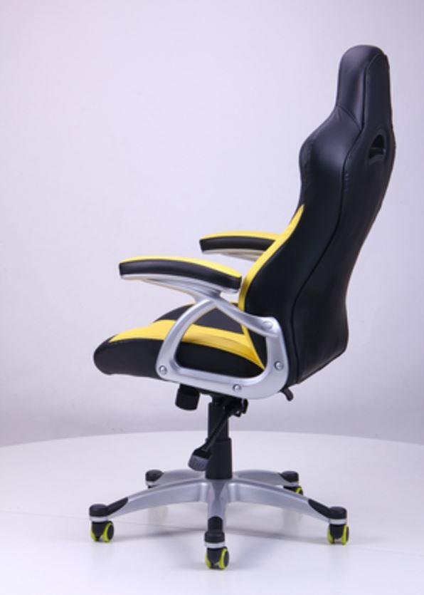 Кресло Форсаж №1 (1712) к/з PU черный/ желтые вставки (фото 6)