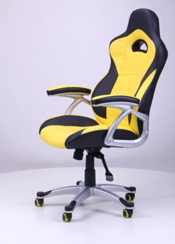 Кресло Форсаж №1 (1712) к/з PU черный/ желтые вставки (фото 7)