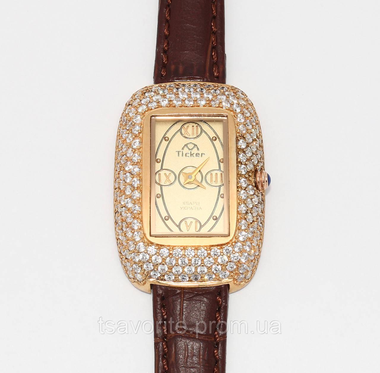 Женские серебряные часы с позолотой ЖЧХ-4