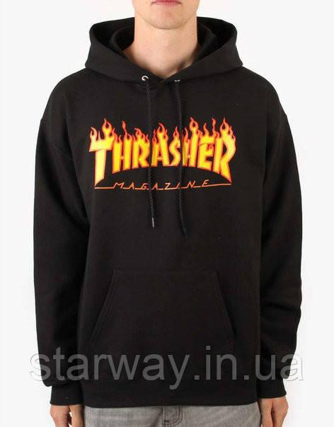 Худи чёрный с принтом Thrasher Logo | Толстовка |