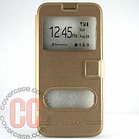 Чехол-книжка с окошками для Samsung Galaxy S7 Edge G935 (золотой)