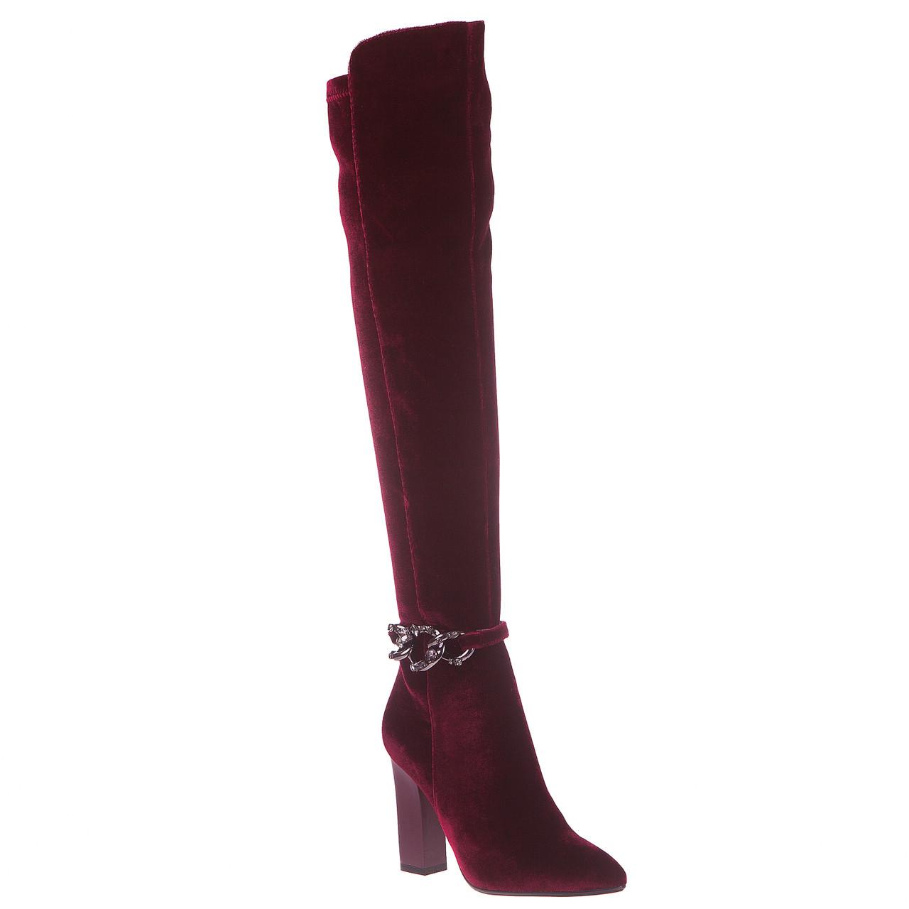 Велюровые ботфорты женские Сhezoliny (бордовые, высокий каблук, острый носок, стильные, модные)