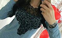Свитер трикотажный с кружевом макраме женский , фото 1