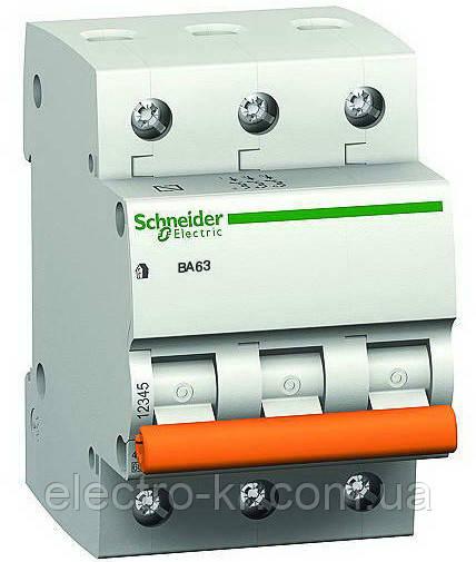Автоматичний вимикач Schneider Electric «Домовик» ВА63 3П 63A C