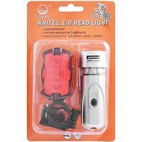 Велосипедный фонарь SF-587: передняя и задняя фары, 6хААА, крепления, 100% режим и мигание
