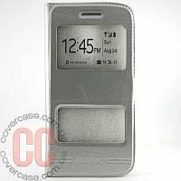 Чехол-книжка с окошками для LG K10 (410) (серебряный)