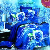 """Полуторный комплект постельного белья Lux Comfort - прост.160 х 220, - под. 150 х 210 """"Роза синяя"""""""