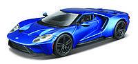 Автомодель - FORD GT голубой металлик, серебристый металлик, 1:32 Bburago (18-43043)