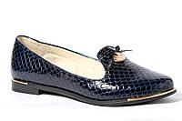 Туфли женские из натуральной лаковой кожи - рептилия синяя