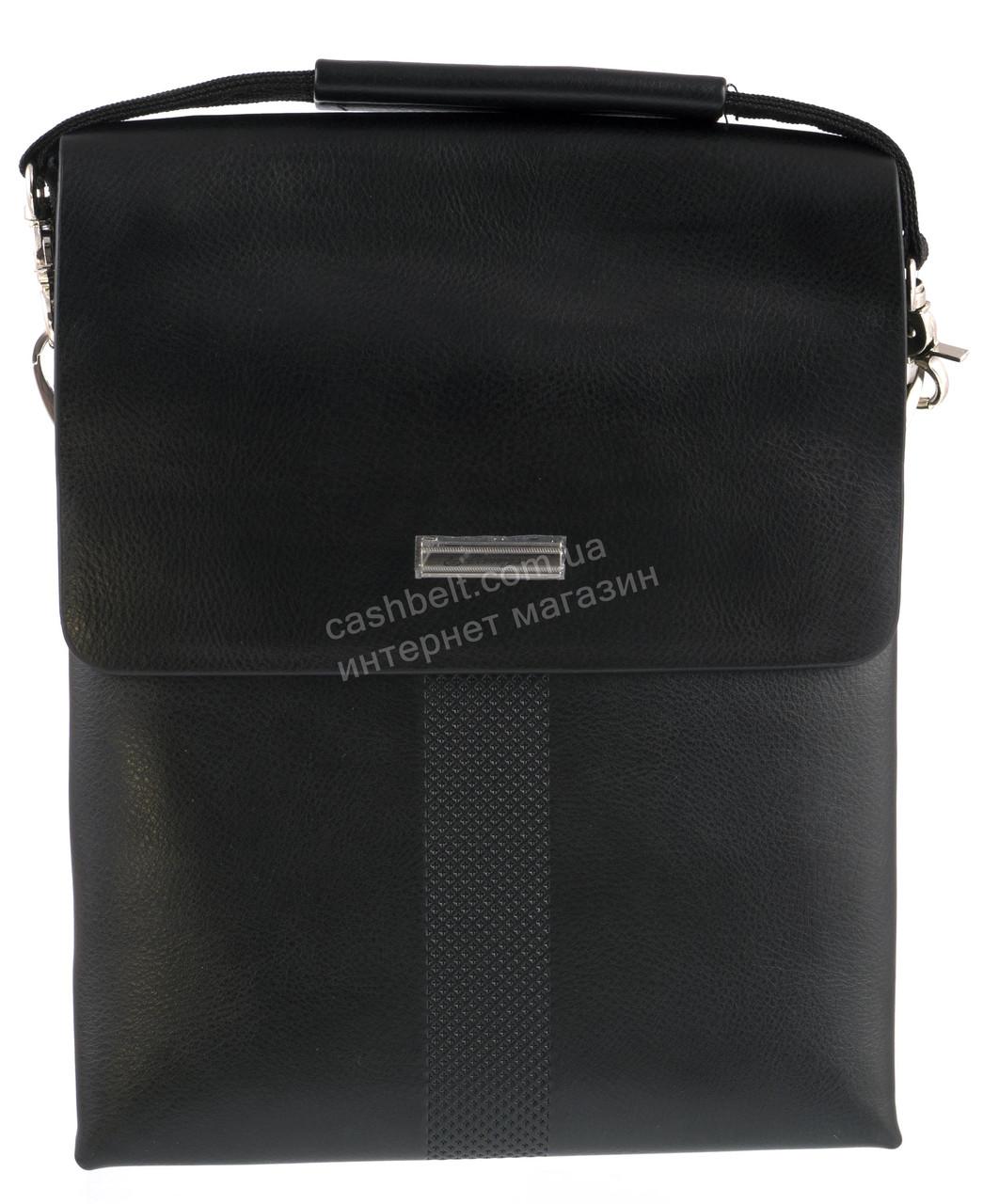 Удобная черная прочная мужская сумка с качественной PU кожи LANGSA art. TP6680-4 черная
