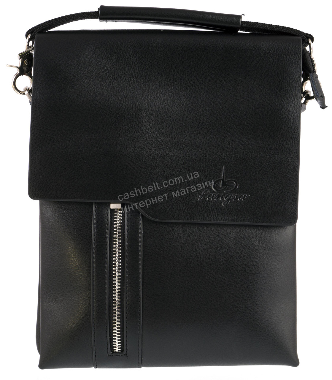 Удобная черная прочная мужская сумка с качественной PU кожи LANGSA art. TP6755-3 черная