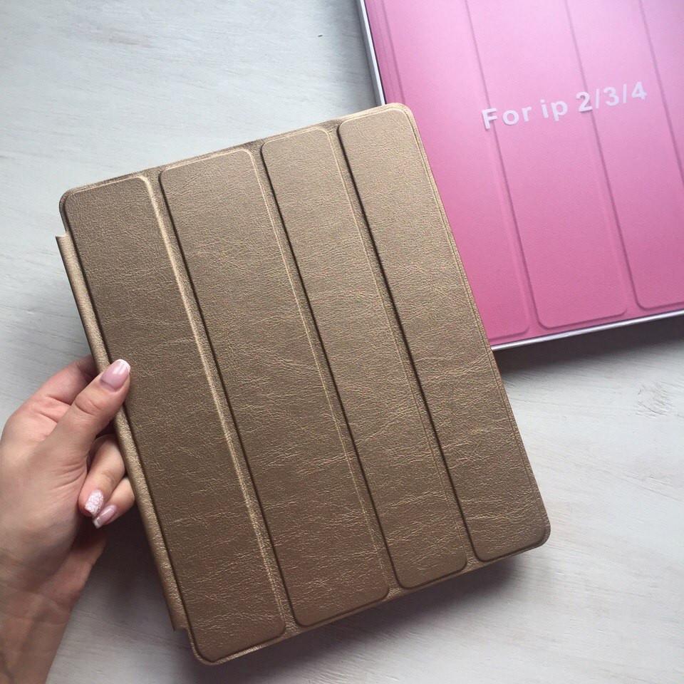 Золотой кожаный чехол Smart case для iPad 2/3/4