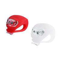 Велосипедный фонарь HJ 008-2, красный + белый, 2 диода, 3 режима, силиконовый корпус, батарейки CR 2032