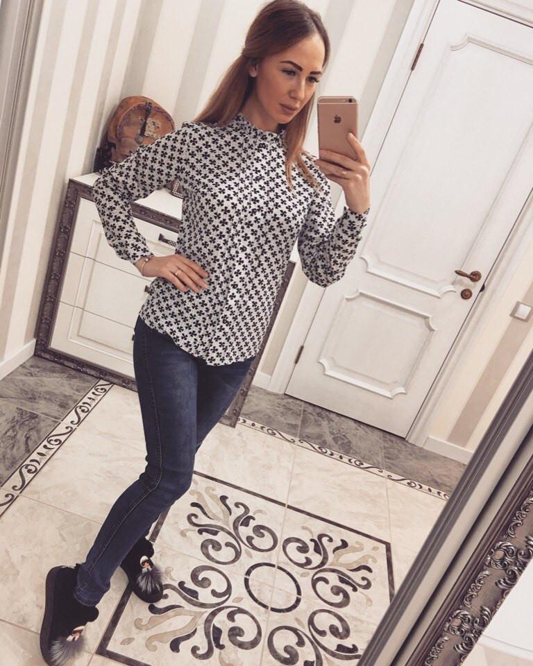 Белая женская рубашка креп-шифон