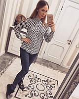 Белая женская рубашка креп-шифон, фото 1