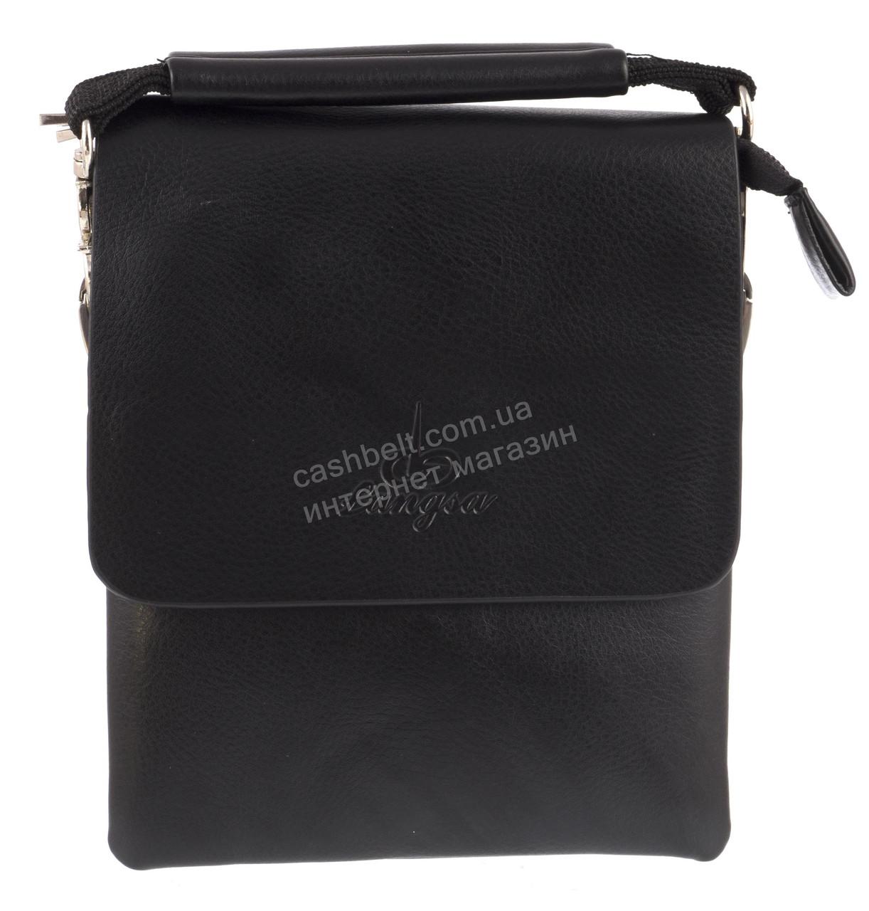Удобная компактная черная прочная мужская сумка с качественной PU кожи LANGSA art. TP1394-1 черная