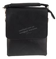 Удобная компактная черная прочная мужская сумка с качественной PU кожи LANGSA art. TP1394-1 черная, фото 1