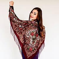 Женский бордовый платок с цветами(120х120см, бордо, 80%-шерсть)