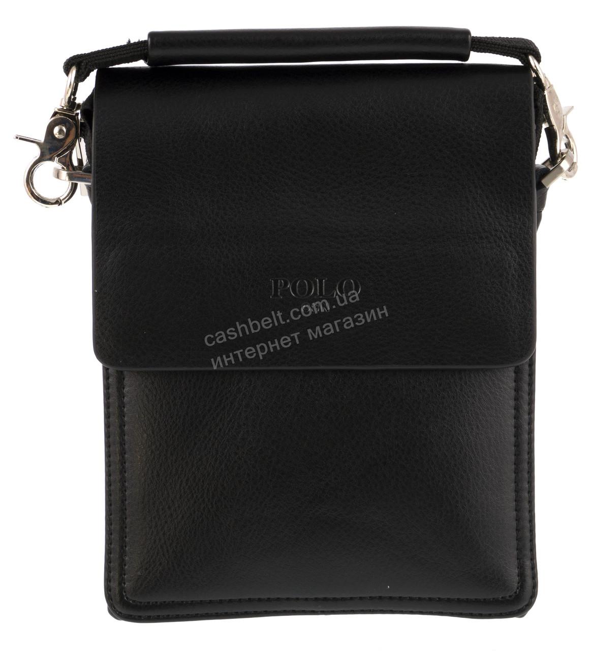 Удобная маленькая черная прочная мужская сумка с качественной PU кожи POLO art. TP88840-0 черная