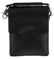Удобная маленькая черная прочная мужская сумка с качественной PU кожи POLO art. TP88840-0 черная, фото 1