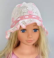 Летняя шапка панамка  Цветы №2 - летняя х/б панамка, вязаная, ажурная. р. 50-54 (3-8 лет) Белый+св.розов, т.розовый, розов