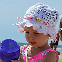 Летняя шапка панамка Цветы №1- летняя х/б панамка, вязаная, ажурная. р. 50-54 (3-8 лет) Т.роз, голубой, розовый, белый