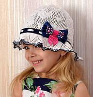 Летняя шапка  панамка Сердечки - летняя х/б панамка, вязаная. р. 52-56 (4-15лет) Белый+т.синий, белый+т.розовый