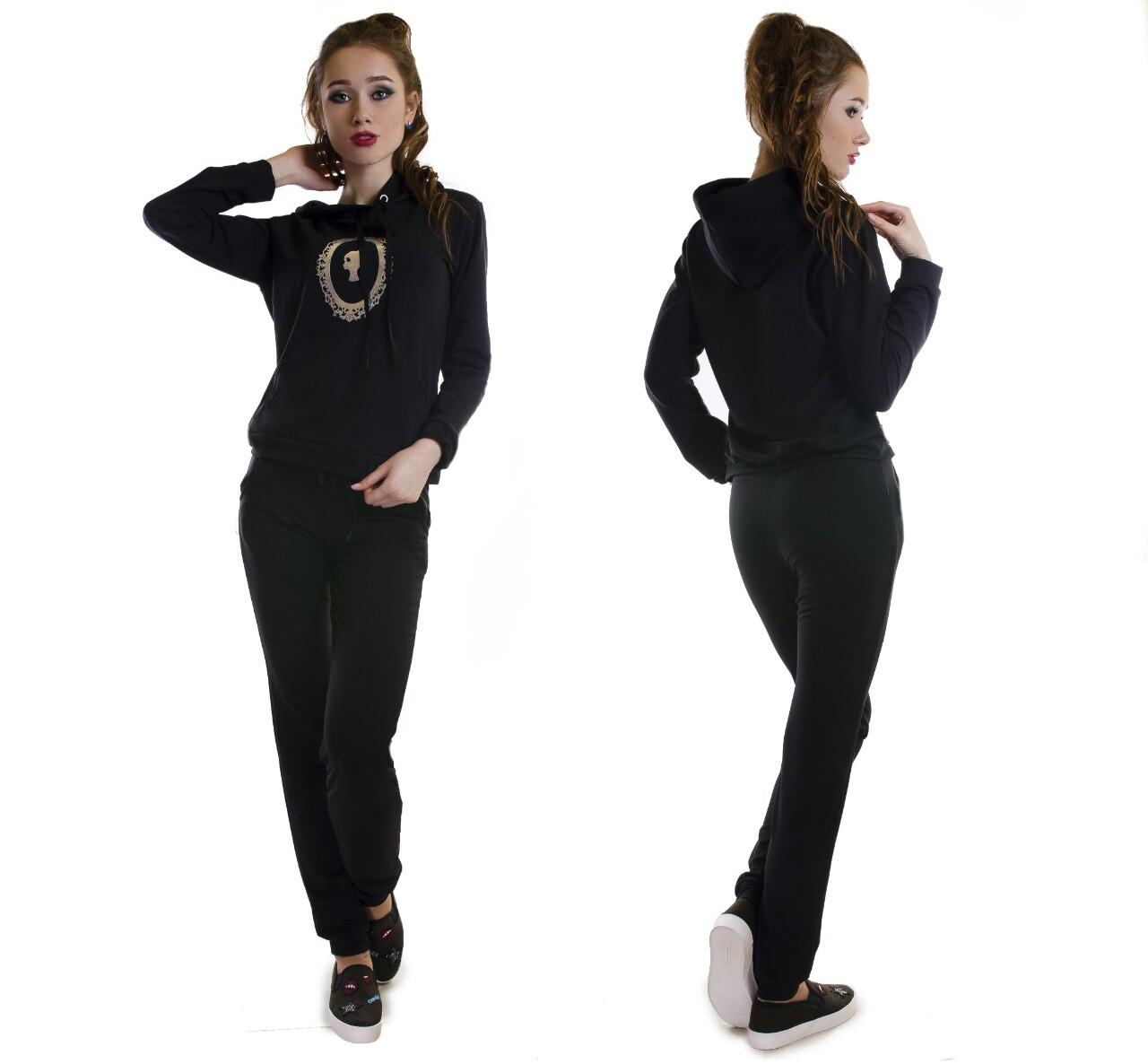 Спортивный костюм с манжетами коттоновый женский (двухнитка), фото 1