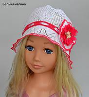 Летняя шапка панамка Ажурный цветок+шифон - панамка хлопок р.50-54 Бел(+желт, +клубн, +коралл,+красн, +малина);