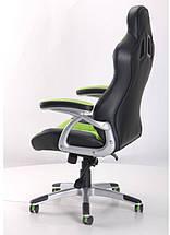 Кресло Форсаж №3 PU черный/зеленые вставки., фото 2