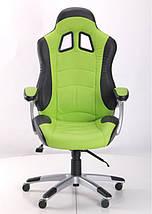 Кресло Форсаж №3 PU черный/зеленые вставки., фото 3