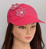 Летняя шапка Бейсболка Цветочек. 3-7 лет. Есть р. 50-52 бел, св.розов, малина и 52-54 малина